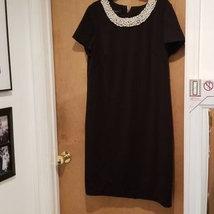 Little Black Dress with pearl neckline